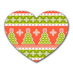 Christmas Tree Ugly Sweater Pattern Heart Mousepads by allthingseveryone