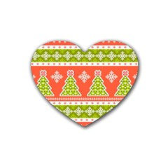 Christmas Tree Ugly Sweater Pattern Rubber Coaster (heart)  by allthingseveryone