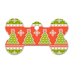 Christmas Tree Ugly Sweater Pattern Dog Tag Bone (two Sides) by AllThingsEveryone