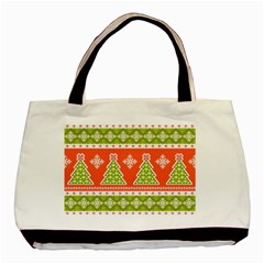 Christmas Tree Ugly Sweater Pattern Basic Tote Bag (two Sides) by allthingseveryone