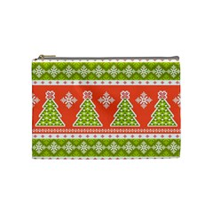 Christmas Tree Ugly Sweater Pattern Cosmetic Bag (medium)  by allthingseveryone