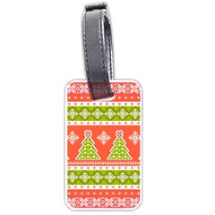 Christmas Tree Ugly Sweater Pattern Luggage Tags (two Sides) by AllThingsEveryone