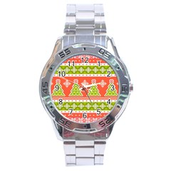 Christmas Tree Ugly Sweater Pattern Stainless Steel Analogue Watch by AllThingsEveryone
