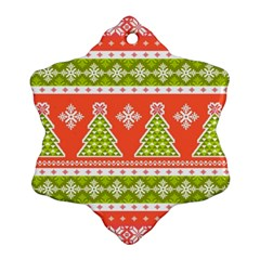 Christmas Tree Ugly Sweater Pattern Ornament (snowflake) by allthingseveryone