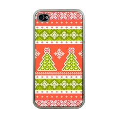 Christmas Tree Ugly Sweater Pattern Apple Iphone 4 Case (clear) by allthingseveryone