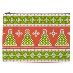 Christmas Tree Ugly Sweater Pattern Cosmetic Bag (xxl)  by allthingseveryone