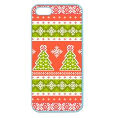 Christmas Tree Ugly Sweater Pattern Apple Seamless Iphone 5 Case (color) by allthingseveryone