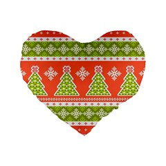 Christmas Tree Ugly Sweater Pattern Standard 16  Premium Flano Heart Shape Cushions by AllThingsEveryone