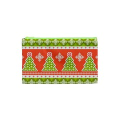 Christmas Tree Ugly Sweater Pattern Cosmetic Bag (xs) by allthingseveryone