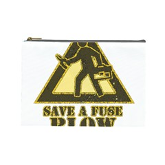 Save A Fuse Blow An Electrician Cosmetic Bag (large)  by FunnyShirtsAndStuff