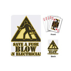 Save A Fuse Blow An Electrician Playing Cards (mini)  by FunnyShirtsAndStuff