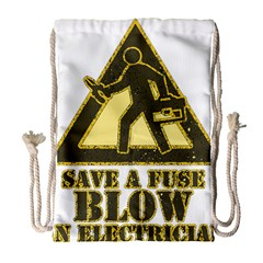 Save A Fuse Blow An Electrician Drawstring Bag (large) by FunnyShirtsAndStuff