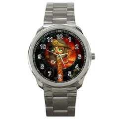 Funny Giraffe With Helmet Sport Metal Watch by FantasyWorld7
