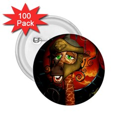 Funny Giraffe With Helmet 2 25  Buttons (100 Pack)  by FantasyWorld7