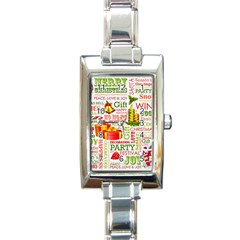 The Joys Of Christmas Rectangle Italian Charm Watch