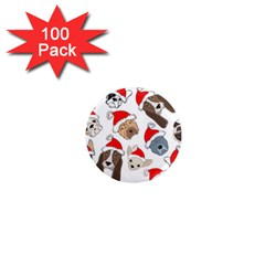 Christmas Puppies 1  Mini Magnets (100 Pack)