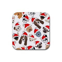Christmas Puppies Rubber Coaster (square)  by AllThingsEveryone