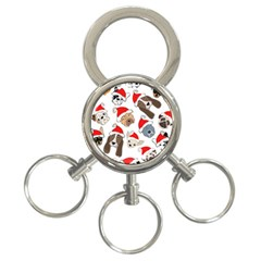 Christmas Puppies 3 Ring Key Chains