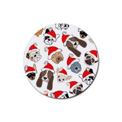 Christmas Puppies Rubber Coaster (round)  by AllThingsEveryone