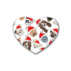 Christmas Puppies Heart Coaster (4 Pack)  by AllThingsEveryone