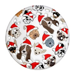 Christmas Puppies Ornament (round Filigree) by allthingseveryone