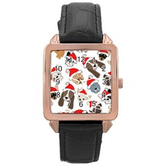 Christmas Puppies Rose Gold Leather Watch  by allthingseveryone