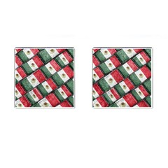 Mexican Flag Pattern Design Cufflinks (square) by dflcprints