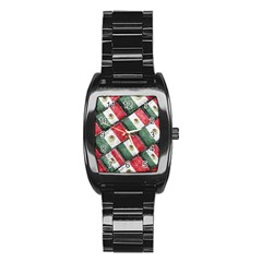 Mexican Flag Pattern Design Stainless Steel Barrel Watch by dflcprints