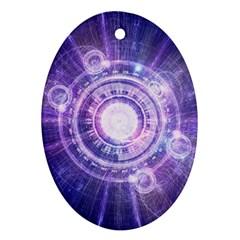 Blue Fractal Alchemy Hud For Bending Hyperspace Oval Ornament (two Sides) by jayaprime