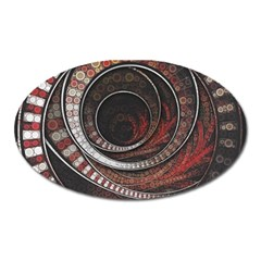 The Thousand And One Rings Of The Fractal Circus Oval Magnet by jayaprime