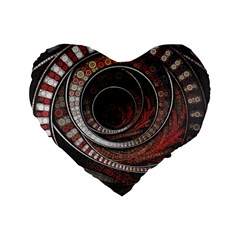 The Thousand And One Rings Of The Fractal Circus Standard 16  Premium Flano Heart Shape Cushions by jayaprime