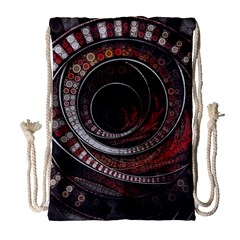 The Thousand And One Rings Of The Fractal Circus Drawstring Bag (large) by jayaprime