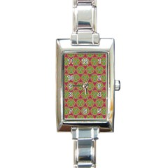Red Green Flower Of Life Drawing Pattern Rectangle Italian Charm Watch by Cveti