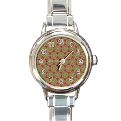 Red Green Flower Of Life Drawing Pattern Round Italian Charm Watch by Cveti