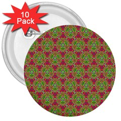 Red Green Flower Of Life Drawing Pattern 3  Buttons (10 Pack)  by Cveti