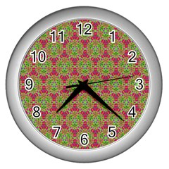 Red Green Flower Of Life Drawing Pattern Wall Clocks (silver)  by Cveti