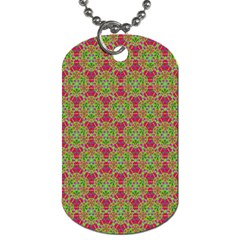 Red Green Flower Of Life Drawing Pattern Dog Tag (two Sides) by Cveti