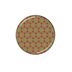 Red Green Flower Of Life Drawing Pattern Hat Clip Ball Marker (4 Pack) by Cveti