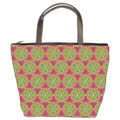Red Green Flower Of Life Drawing Pattern Bucket Bags by Cveti