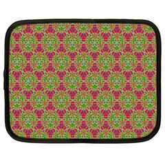 Red Green Flower Of Life Drawing Pattern Netbook Case (xl)  by Cveti