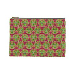 Red Green Flower Of Life Drawing Pattern Cosmetic Bag (large)  by Cveti