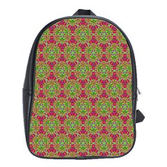 Red Green Flower Of Life Drawing Pattern School Bag (large) by Cveti
