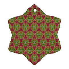 Red Green Flower Of Life Drawing Pattern Ornament (snowflake) by Cveti