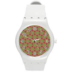 Red Green Flower Of Life Drawing Pattern Round Plastic Sport Watch (m) by Cveti