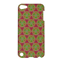 Red Green Flower Of Life Drawing Pattern Apple Ipod Touch 5 Hardshell Case by Cveti