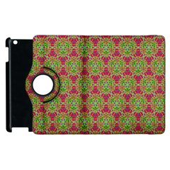 Red Green Flower Of Life Drawing Pattern Apple Ipad 2 Flip 360 Case by Cveti