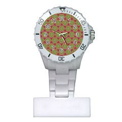 Red Green Flower Of Life Drawing Pattern Plastic Nurses Watch by Cveti