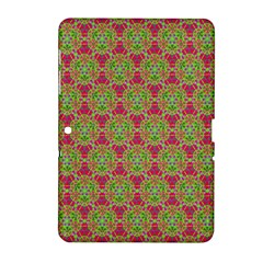 Red Green Flower Of Life Drawing Pattern Samsung Galaxy Tab 2 (10 1 ) P5100 Hardshell Case  by Cveti
