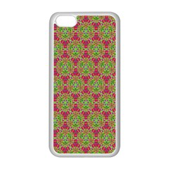 Red Green Flower Of Life Drawing Pattern Apple Iphone 5c Seamless Case (white) by Cveti
