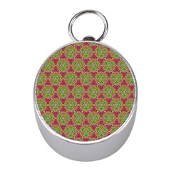 Red Green Flower Of Life Drawing Pattern Mini Silver Compasses by Cveti